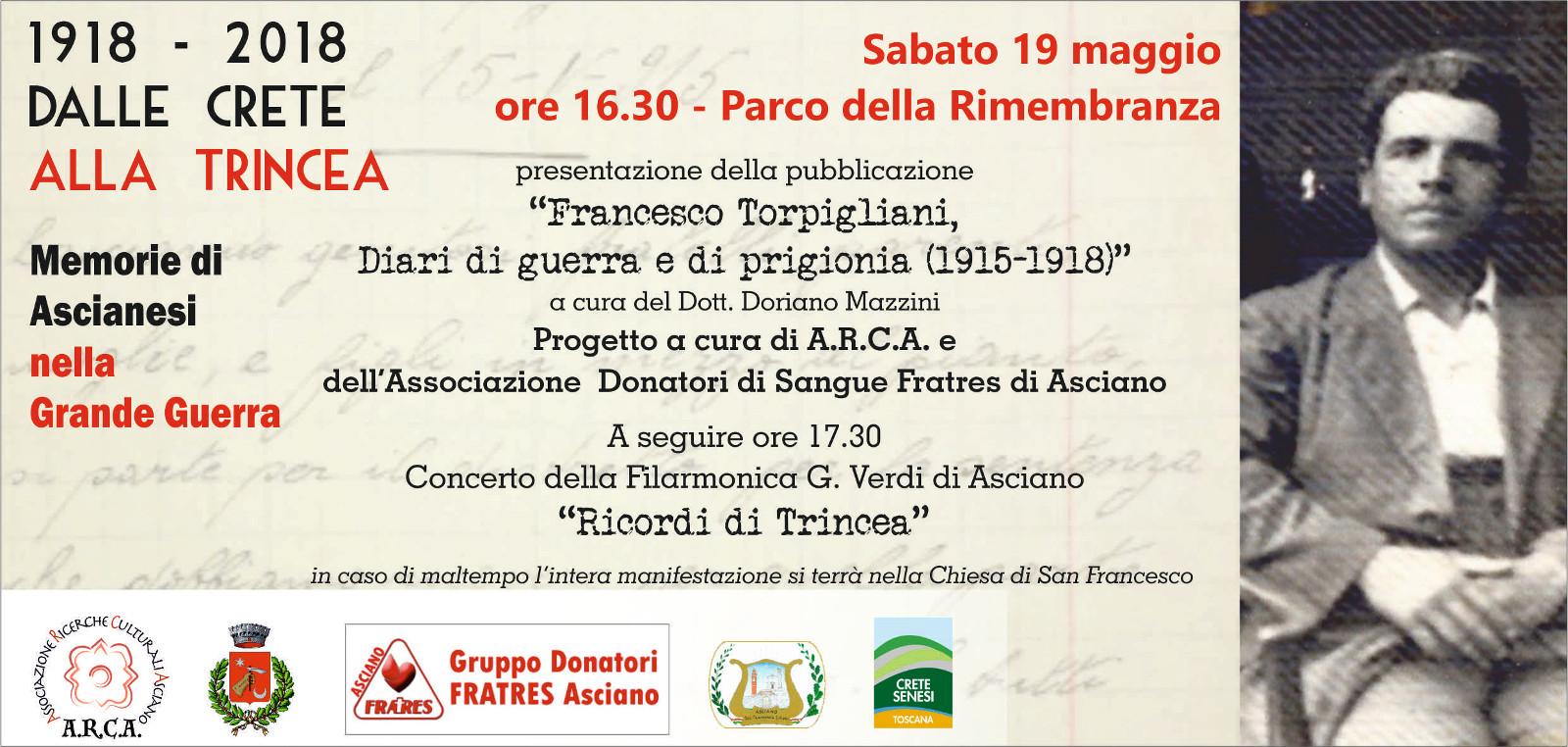 """Presentazione della pubblicazione """"Francesco Torpigliani, Diari di guerra e di prigionia (1915-1918)"""" – Sabato 19 maggio – Parco della Rimembranza – Asciano (SI)"""