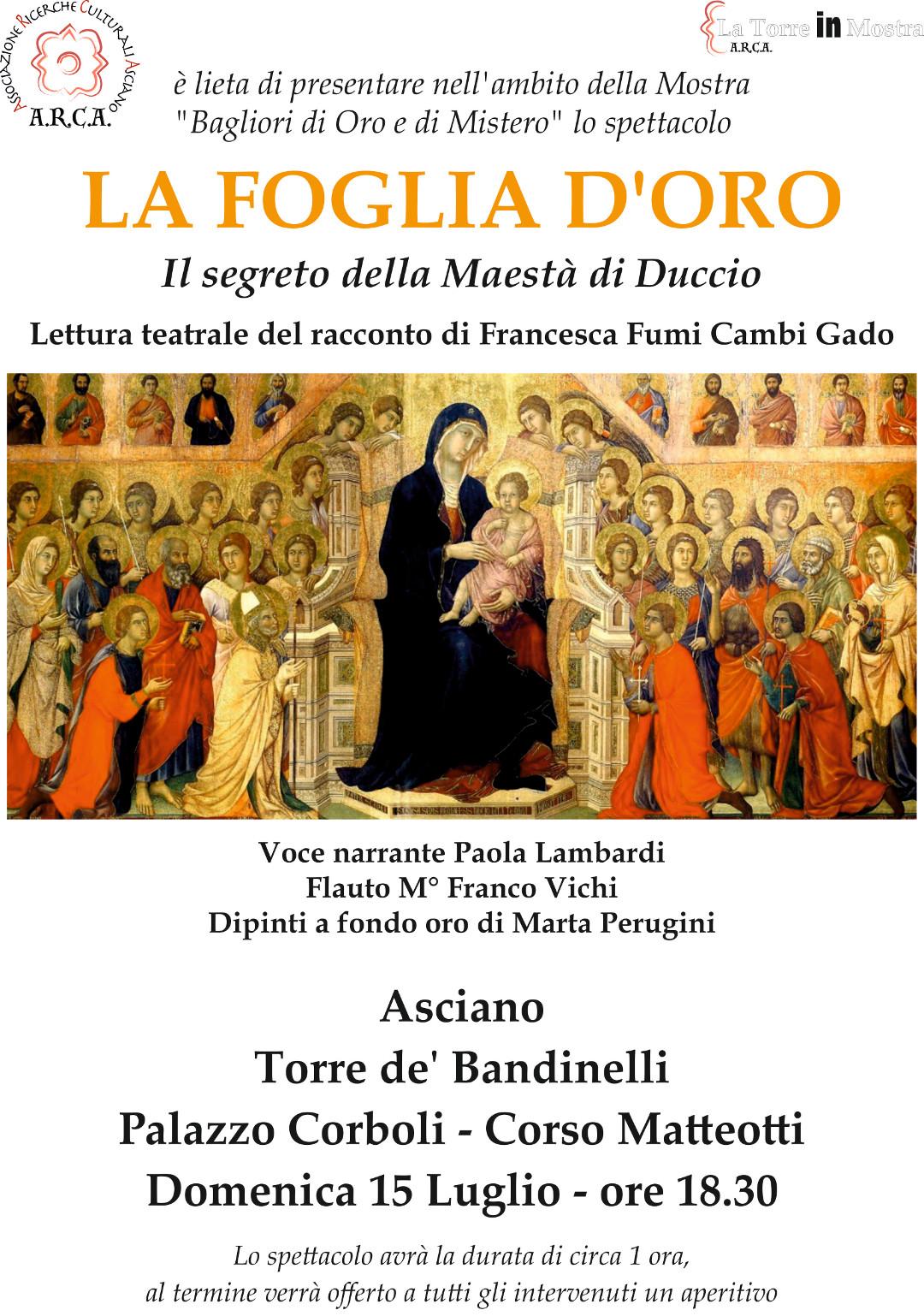 LA FOGLIA D'ORO – Il Segreto della Maestà di Duccio – Domenica 15 luglio ore 18:30