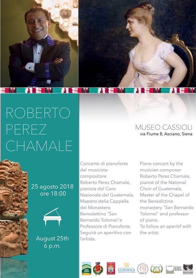 Concerto del pianista Roberto Perez Chamale – sabato 25 agosto ore 18:00 – Museo Cassioli – Asciano (SI)