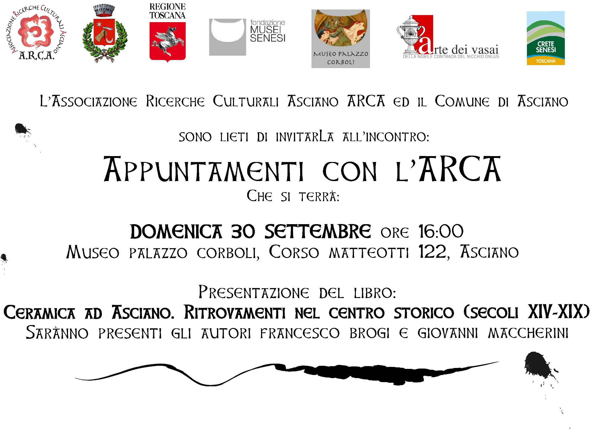 Appuntamenti con l'ARCA – Ceramica ad Asciano. Ritrovamenti nel Centro Storico (secoli XIV-XIX) – Domenica 30 Settembre