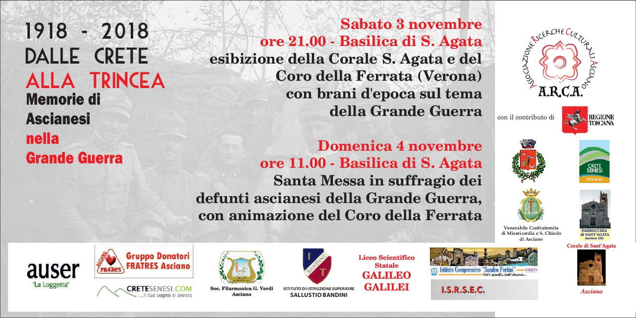 1918-2018 DALLE CRETE ALLA TRINCEA – Memorie di ascianesi nella Grande Guerra – Sabato 3 e Domenica 4 novembre – Basilica S.Agata – Asciano (SI)