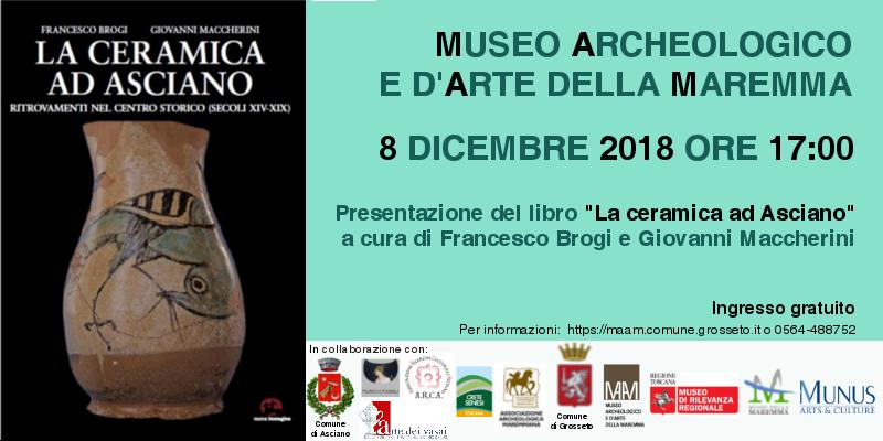 La Ceramica ad Asciano – Sabato 8 dicembre ore 17:00 – Museo Archeologico e d'Arte della Maremma – Grosseto