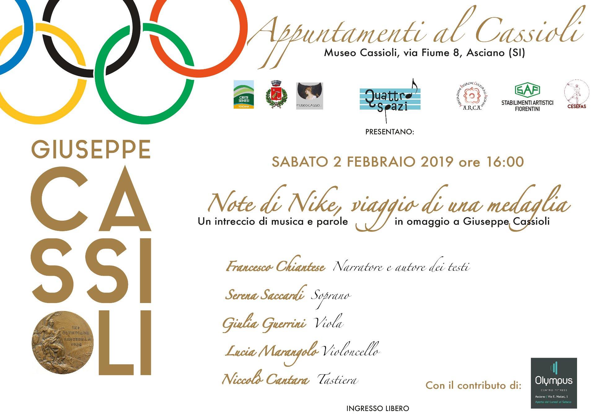Note di Nike, viaggio di una Medaglia – sabato 2 febbraio – ore 16:00 – Museo Cassioli – Asciano (SI)