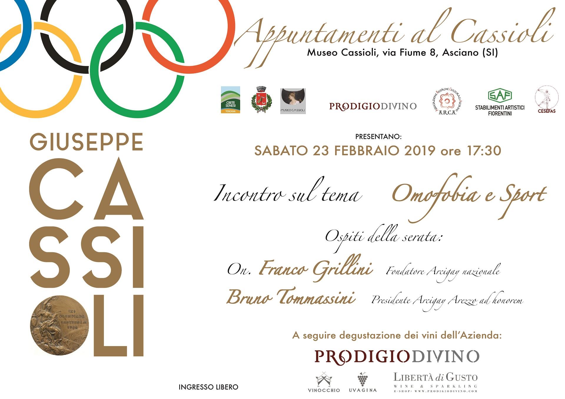 Omofobia e Sport – sabato 17 febbraio – ore 17:30 – Museo Cassioli – Asciano (SI)