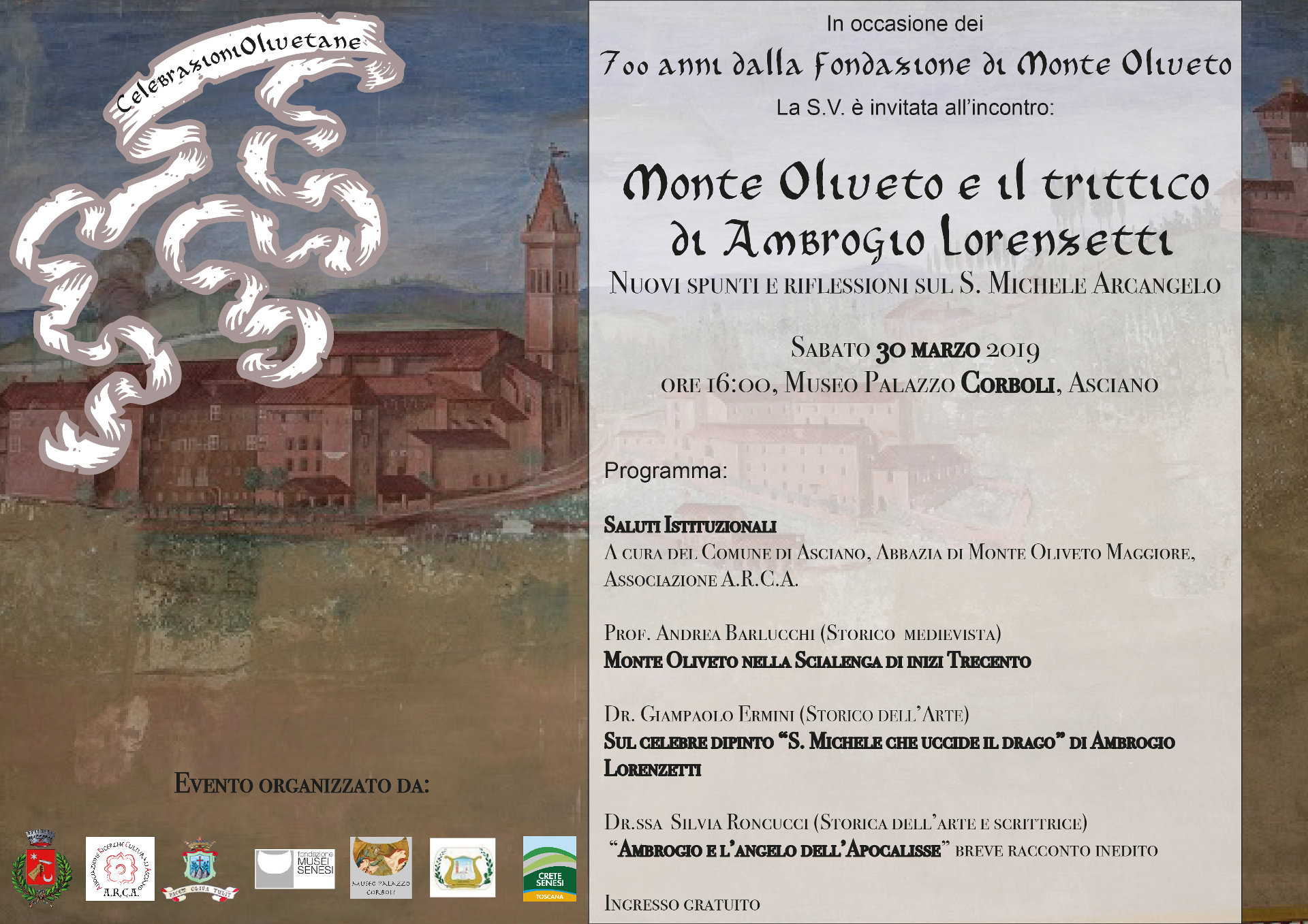Monte Oliveto e il trittico di Ambrogio Lorenzetti – sabato 30 marzo – ore 16:00 – Museo Corboli – Asciano (SI)