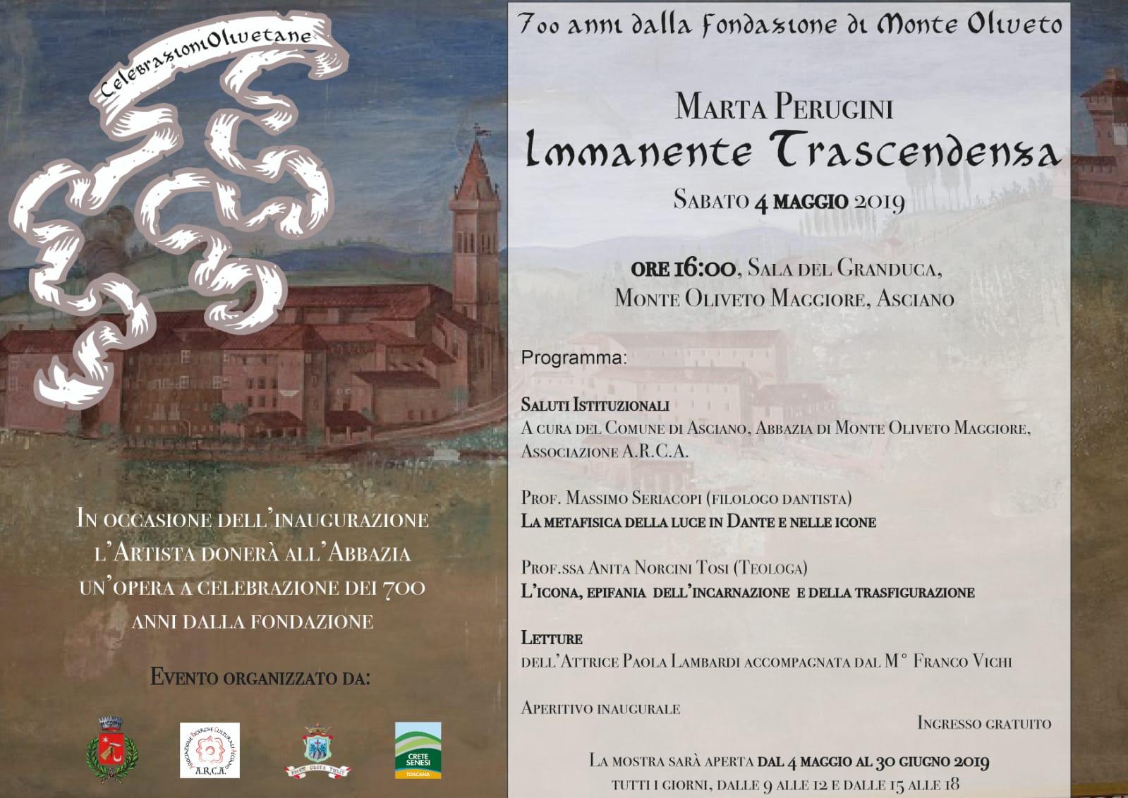 """""""Immanente trascendenza"""" – Inaugurazione sabato 4 maggio – ore 16:00 – Abbazia di Monte Oliveto Maggiore"""