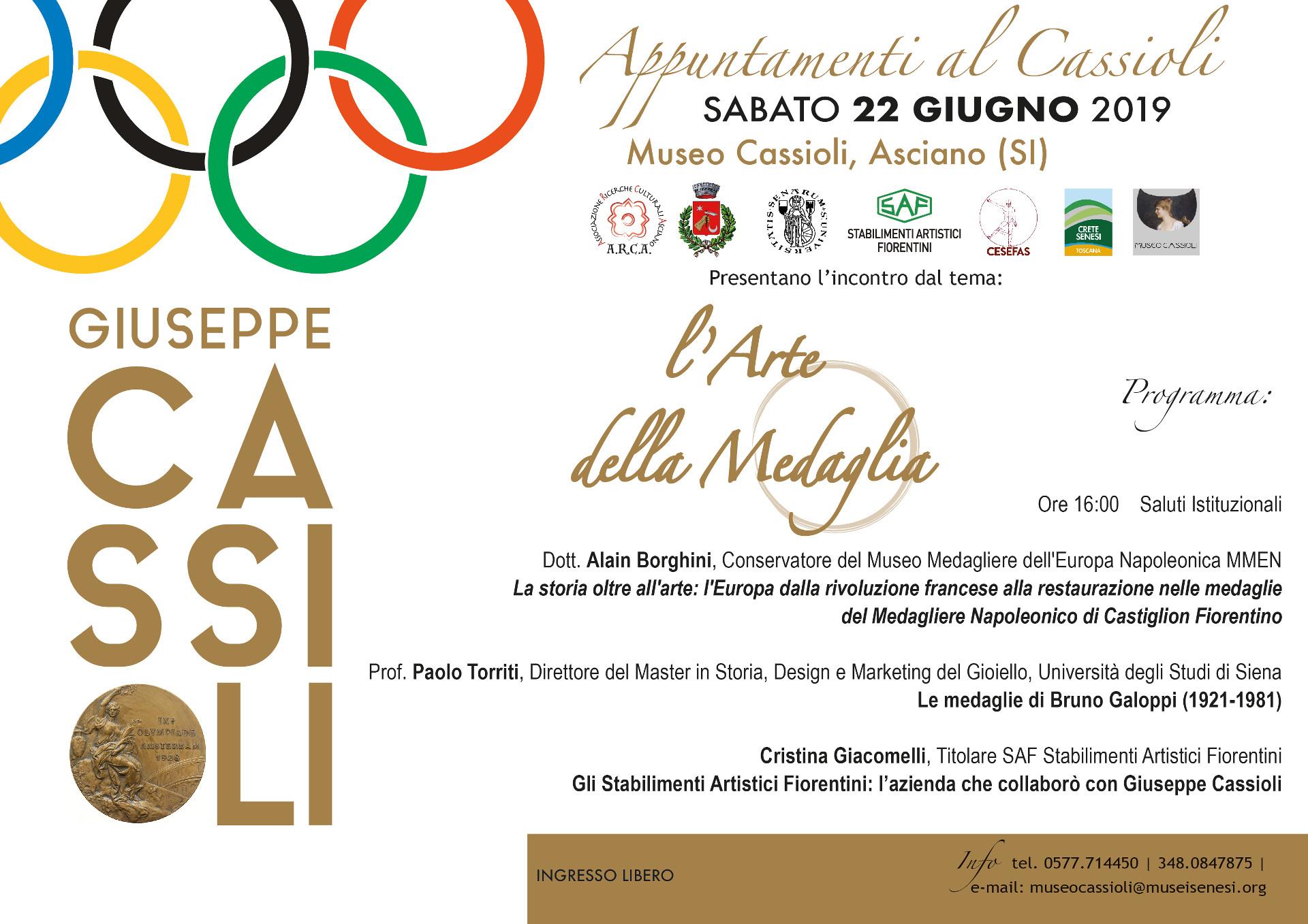 L'arte della medaglia – sabato 22 aprile – ore 16:00  – Museo Cassioli – Asciano (SI)