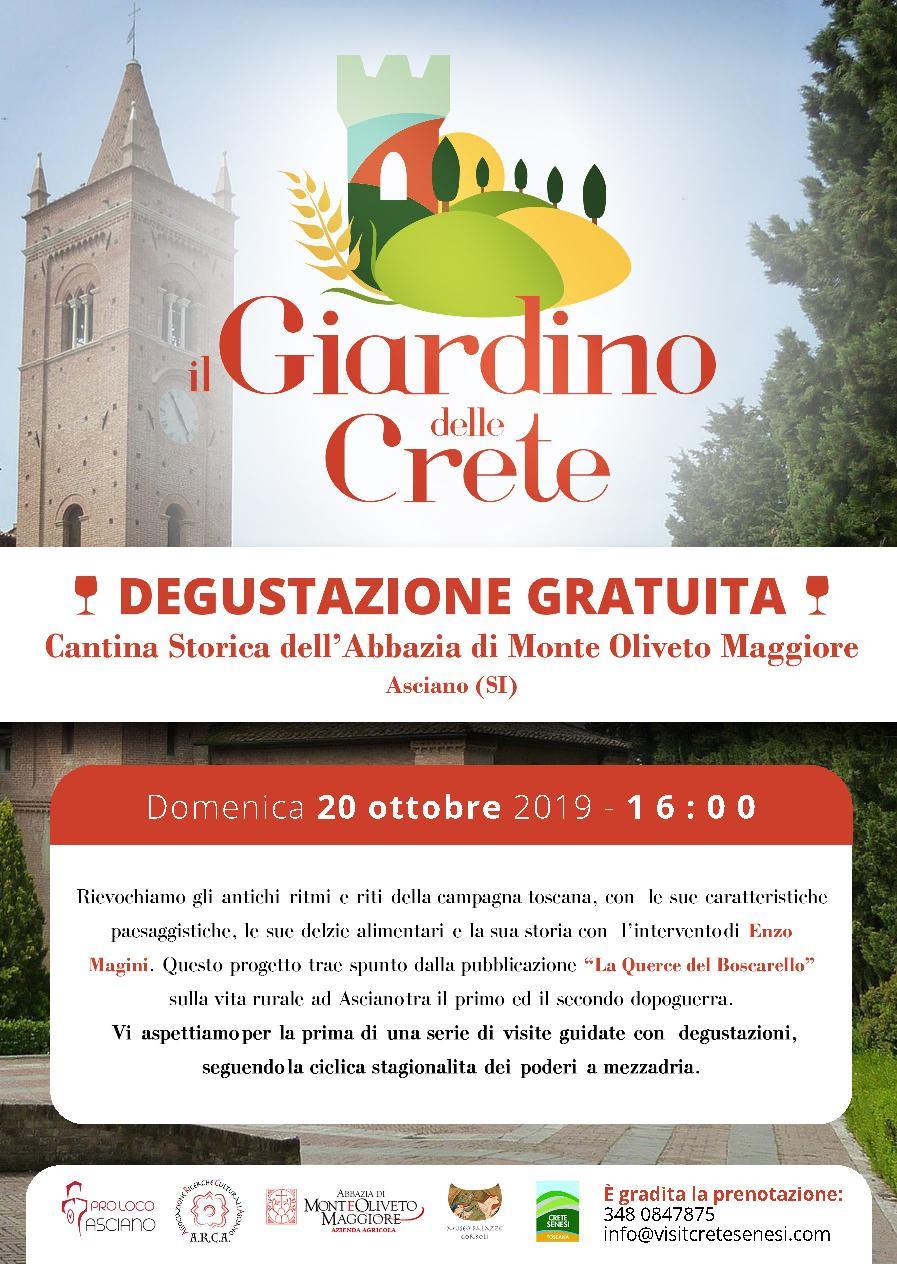 Il Giardino delle Crete – Cantina storica dell'Abbazia di Monte Oliveto Maggiore – domenica 20 ottobre – ore 16:00