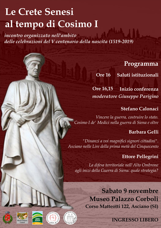 Le Crete senesi al tempo di Cosimo I° – sabato 9 novembre – ore 16:00 – Museo Corboli – Asciano (SI)
