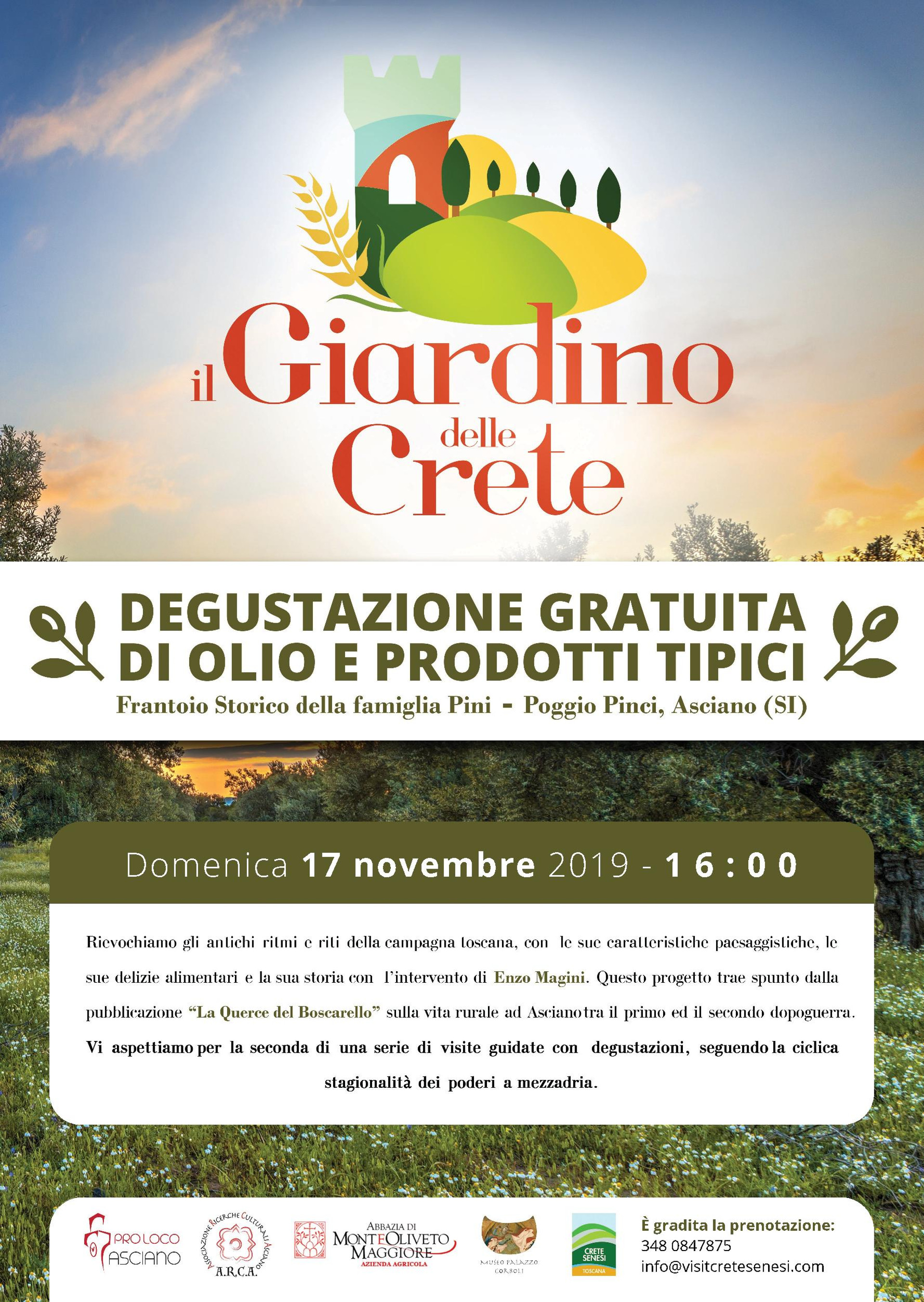 Il Giardino delle Crete – Oliviera storica della famiglia Pini di Poggio Pinci – domenica 17 novembre – ore 16:00
