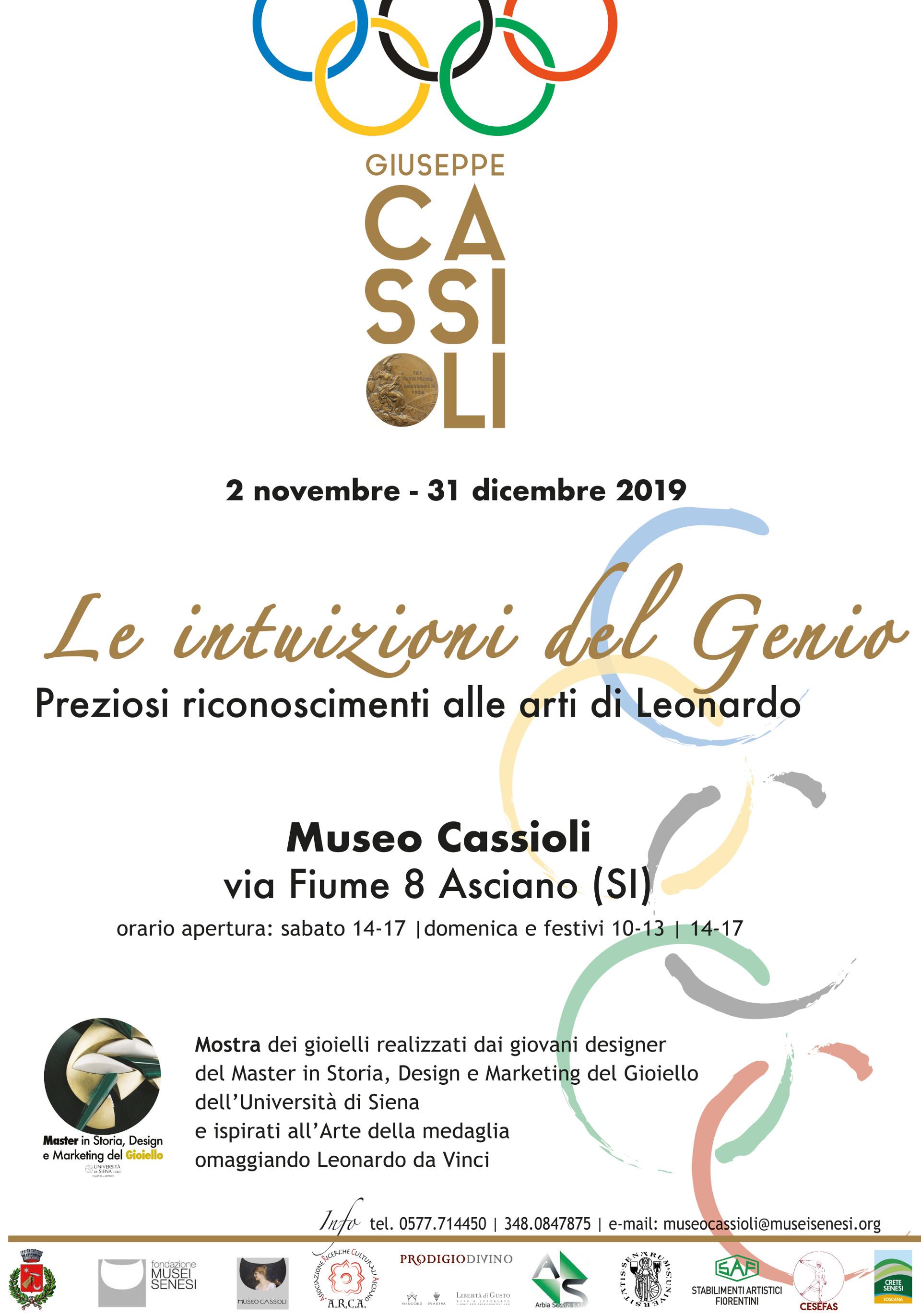 Le intuizioni del Genio. Preziosi riconoscimenti alle arti di Leonardo – sabato 2 novembre – ore 17:00 – Museo Cassioli – Asciano (SI)