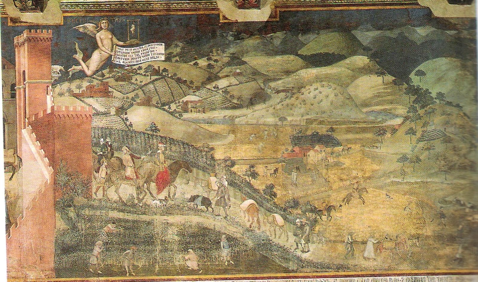 Particolare del Buongoverno (palazzo pubblico di Siena), la campagna