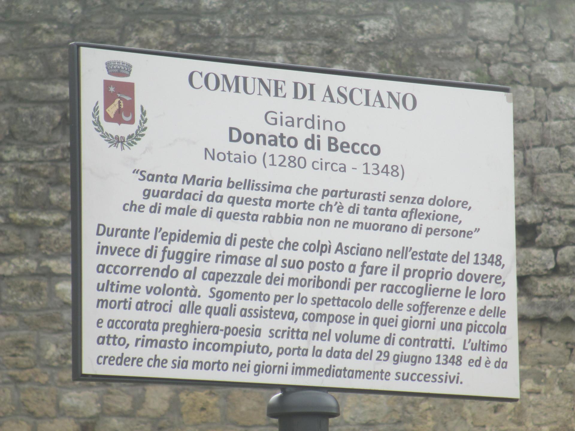 """targa giardino """"Donato di Becco"""", Asciano"""